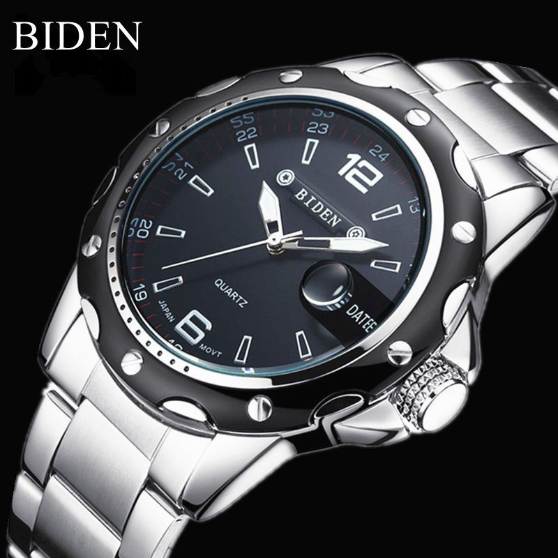 Biden Brand Men Simple Quartz Watch Sport military Full Steel  Waterproof Wristwatches Fashion Date Watch 3ATM Relogio Masculino 2016 biden brand watches men quartz business fashion casual watch full steel date 30m waterproof wristwatches sports military wa
