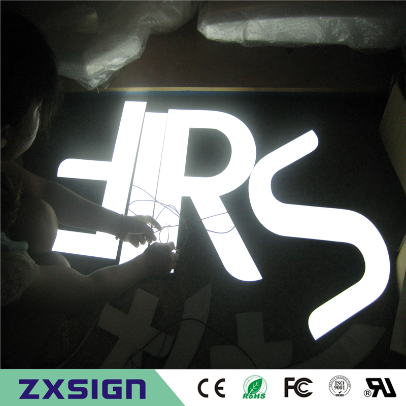 Factory Outlet Outdoor Brightest Resin Luminous LED Channel Letter Sign, Front Lighted Up Led Letterings Direct Signages