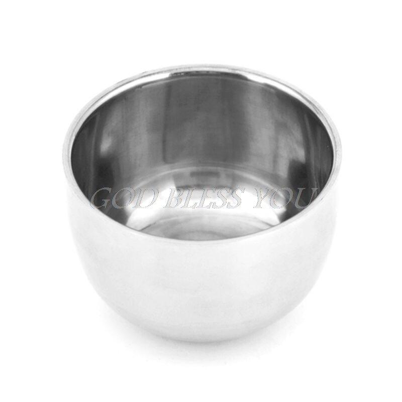 Shave Brush Mug Stainless Steel Metal Shaving Bowl Cup 7.2cm