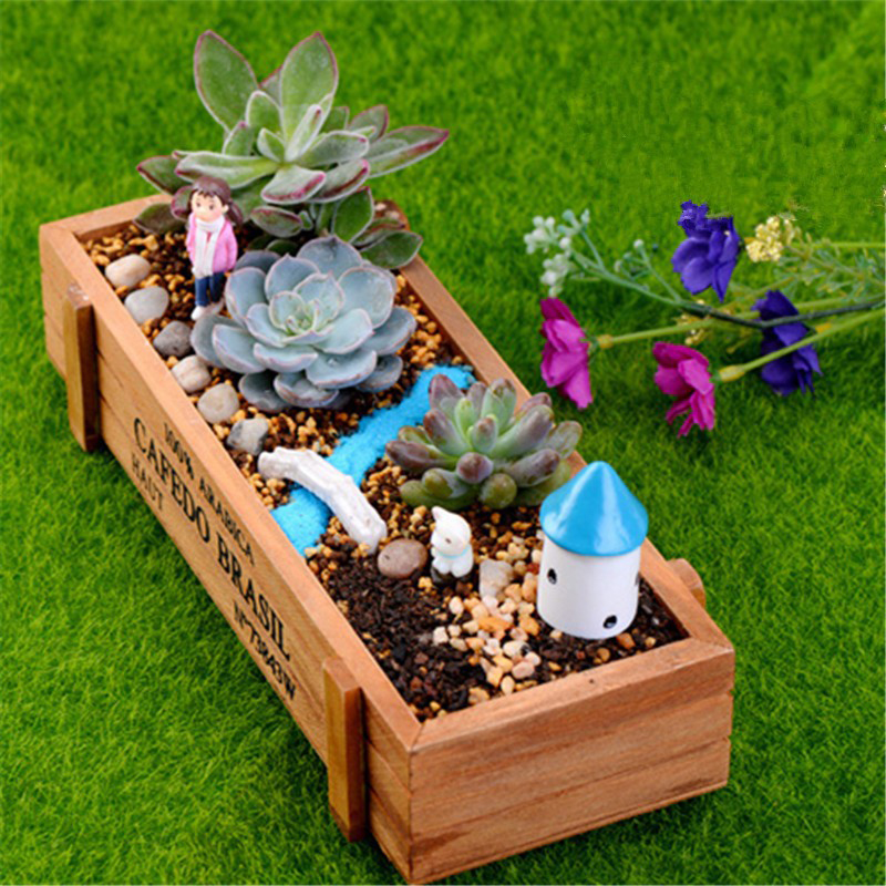 Natural wooden succulent plant flower bed pot box garden for Wooden attic box bed