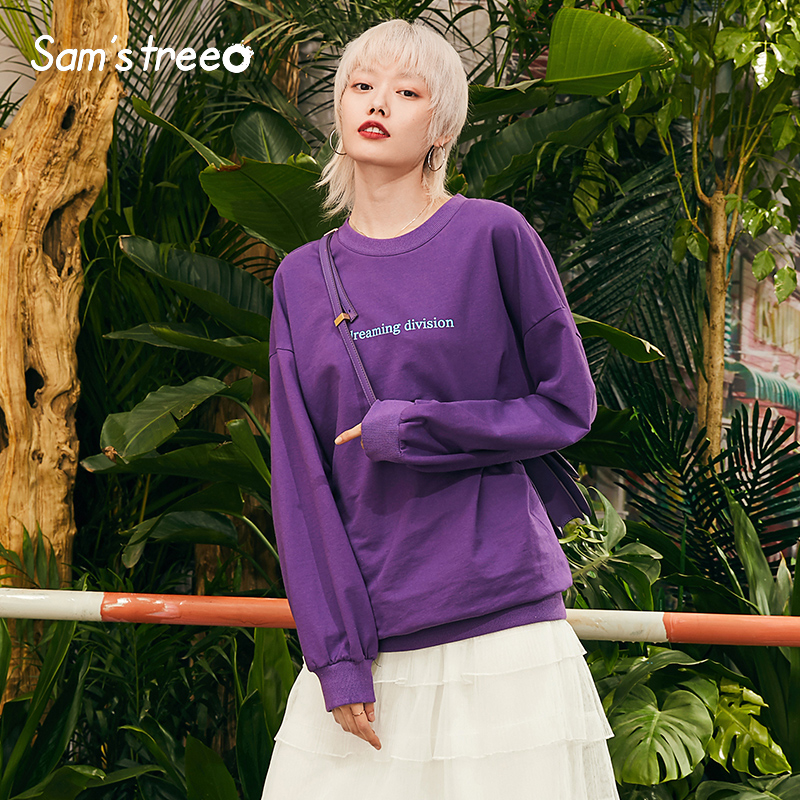Samstree Purple Letter Print Casual Leisure Sweatshirt Women Minimalist Pullover 2019 Autumn Less Is More Female Tops