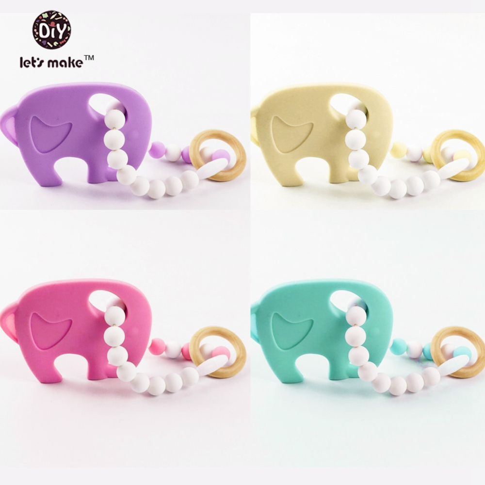 Lets make Silicone Teething Baby Toys Nursing Bracelet Elephant Purple Silicone Beads 4pcs Natural Teether For Baby