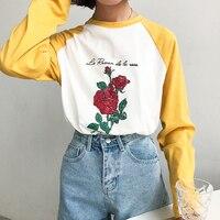 Harajuku Letter Print T Shirt Women Vintage Rose Floral Print Girls Tees Long Sleeve Loose T