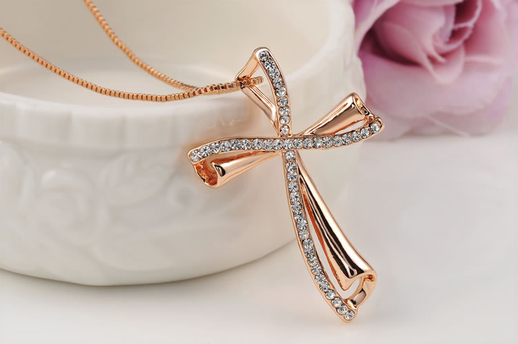 New arrival christmas gift simple rose gold color crystal cross new arrival christmas gift simple rose gold color crystal cross pendant necklace women fine jewelry wedding cheap wholesale in pendant necklaces from aloadofball Images