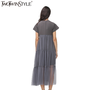 Image 4 - TWOTWINSTYLE Summer Korean Splicing Pleated Tulle T shirt Dress Women Big Size Black Gray Color Clothes New Fashion 2020