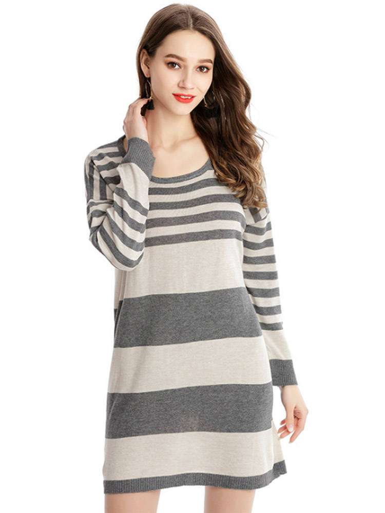 2019 Fashion New Sweater Women 39 s Loose Woven Large Size Long Sleeve Ladies Stripe Long Sweaters Spring Autumn Hot Casual Trend in Pullovers from Women 39 s Clothing