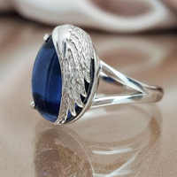 2019 New Luxury S925 Sterling Silver Blue Colour CZ Crystal Ring Silver Feather Rings For Girls Female Party Rings Jewelry Gifts