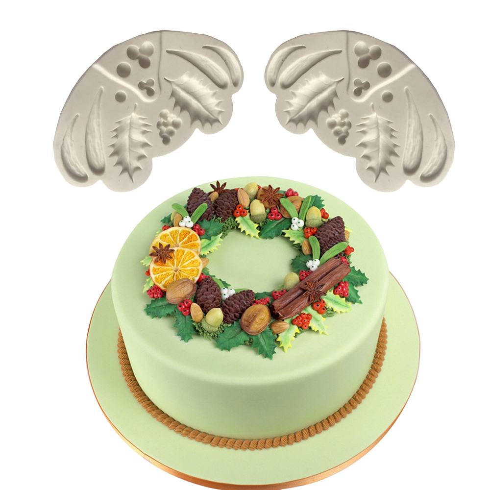 3d christmas fruit leaf embossed silicone mold relief fondant cake decorating tools chocolate gumpaste candy clay moulds in clay extruders from home - Christmas Fruit Cake Decoration