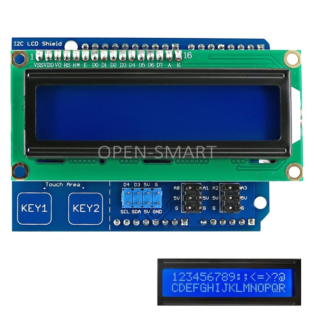 US $3 71 5% OFF LCD Keypad Shield I2C 1602 LCD Shield with Touch Keys for  Arduino UNO / Mega2560 White Backlight-in Industrial Computer & Accessories