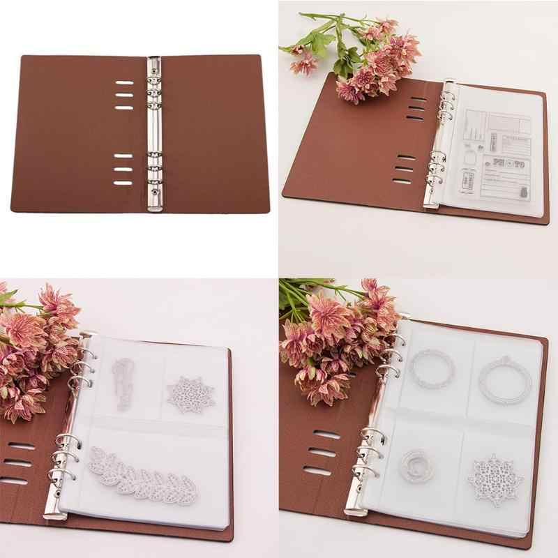 Cutting Dies Seal Transparent Stamps Collections Case DIY Scrapbooking Stencil Synthetic Leather Storage Book Template Holder