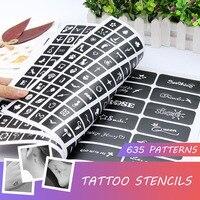 Книга Полупостоянный 635 шаблон для татуировок альбом искусство тела крем конус трафареты для татуировок для макияжа Аэрограф картина карта