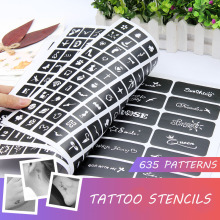 A Book Semi Permanent 635 Patterns Tattoo Template Album Body Art Cream Cone Stencils for Makeup Airbrush Painting Card