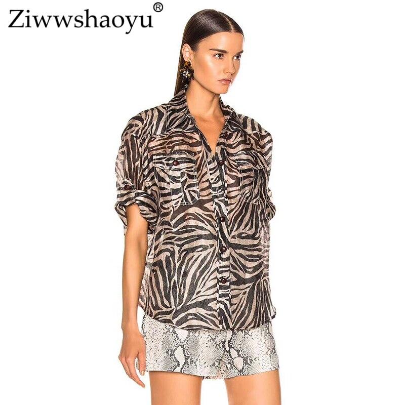 2019 Con Mujeres Primavera Ziwwshaoyu Botón Cebra Collar abajo Multiple Casual Giro Temperamento Y Nuevo Blusa Verano De Estampado 5qqx7PawB