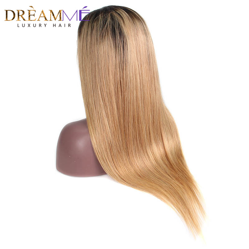 Lace Front Human Hair Wigs Brazilian Straight Human Hair Wigs With Baby Hair 1B 27 Honey