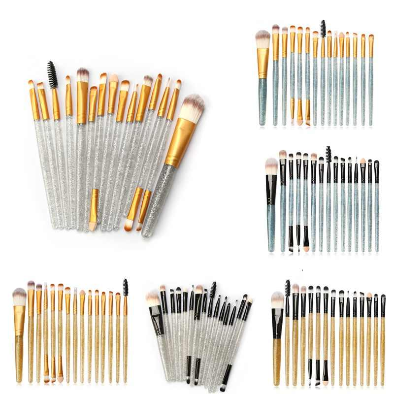 15 Pcs/set Eye Makeup Brush Professional Face Eye Shadow Eyeliner Eyebrow Nylon Fiber Shimmering Powder Handle Eye Shadow Brush