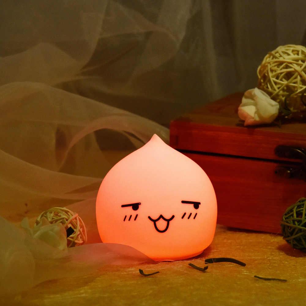 Прекрасный 7 цветов капли воды ночник силиконовый мягкий детский подарок светодиодный нажимной светильник Рождественский подарок мультяшный светильник