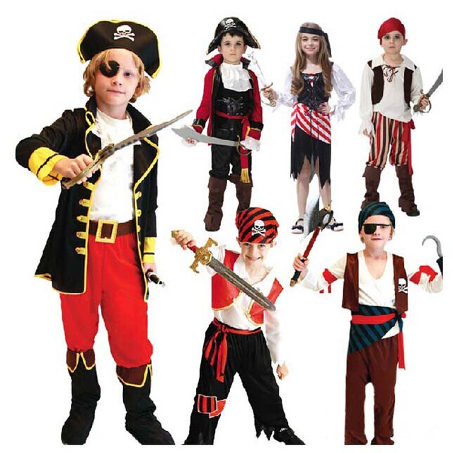 Boy Girl Children Kids Pirate Cosplay Costume Fancy Dress Buccaneer Outfit   Birthday Party Halloween Children'Day Christmas