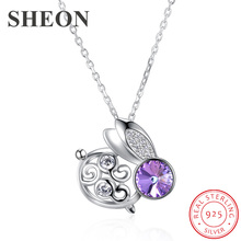 SHEON Animal Collection 925 Sterling Silver Lovely Rabbit Personality Pendant Necklaces For Women Jewelry Gift