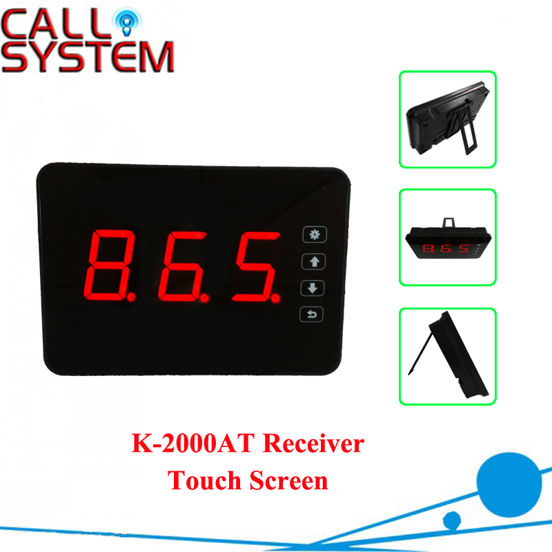 Hot sale Wireless Call Bell System Display Receiver K-2000AT Touch Screen Function wireless pager system 433 92mhz wireless restaurant table buzzer with monitor and watch receiver 3 display 42 call button