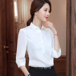 Image 4 - Naviu 2019 New Fashion High Quality Satin Shirt Women Tops and Blouses Office Lady Style Formal Shirt Plus Size Work Wear