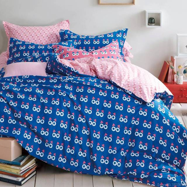 Cute Blue Owl Eyes Cartoon Bedding Duvet Sets Luxury Kids Linen Boy Age Cotton