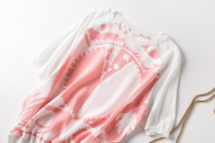 Neue frauen s kleidung in Europa und die kokospalmen druck qualität von gestrickte seide kurzarm T hemd-in T-Shirts aus Damenbekleidung bei  Gruppe 3