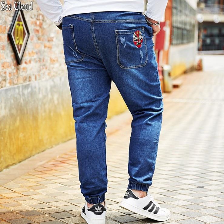 Sea Cloud Free shipping big size M-8xl plus men jeans Chinese style pants cotton male waist waist long trousers loose pants