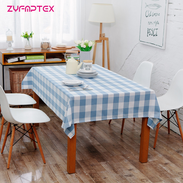 ZYFMPTEX American Country Style Table Cloth Waterproof Lattice Tablecloth  Cotton Fabric Kitchen Rectangular Plaid Cloth 1pcs
