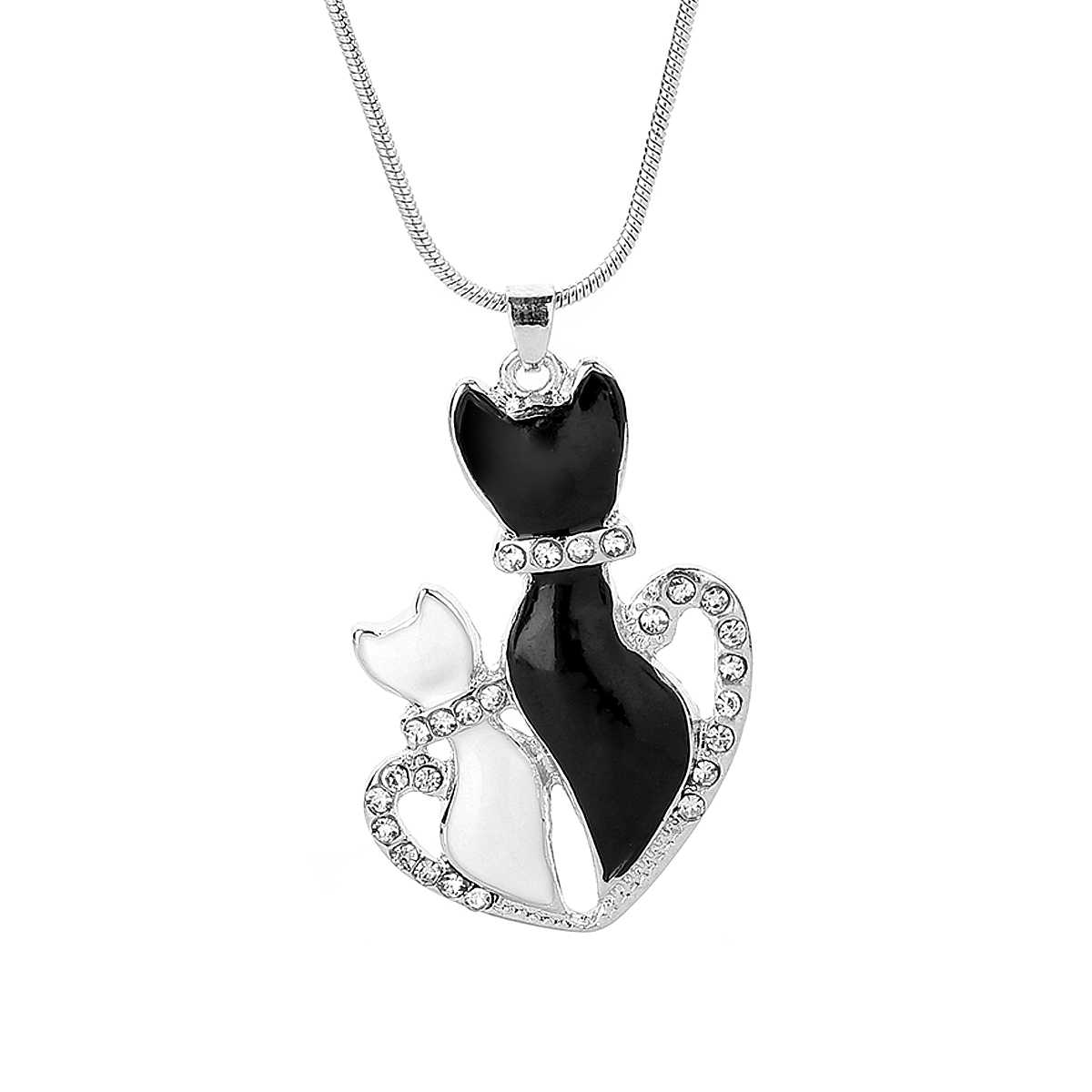 Lovely Pet Black And White Cat Crystal Pendant Chain Necklace For Women Trendy Charm Couple Romantic Jewelry Kolye Shellhard