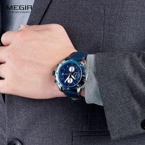 Image 4 - MEGIR Mens Chronograph Quartz Watches Leather Strap Army Sports Casual Wristwatch Man Relogios Masculino Clock 2074 Blue