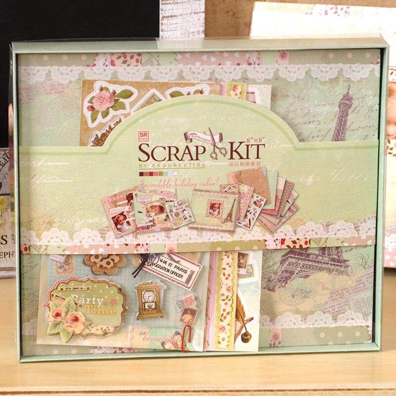 buy 8 x 8 complete vintage travel scrapbook kits for girls boys kids diy. Black Bedroom Furniture Sets. Home Design Ideas