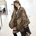 155*140 de La Moda del leopardo de Gran Tamaño bufanda mujeres Chal Capa grandes estrellas algodón de las bufandas de señora Pashmina cachecol echarpe poncho