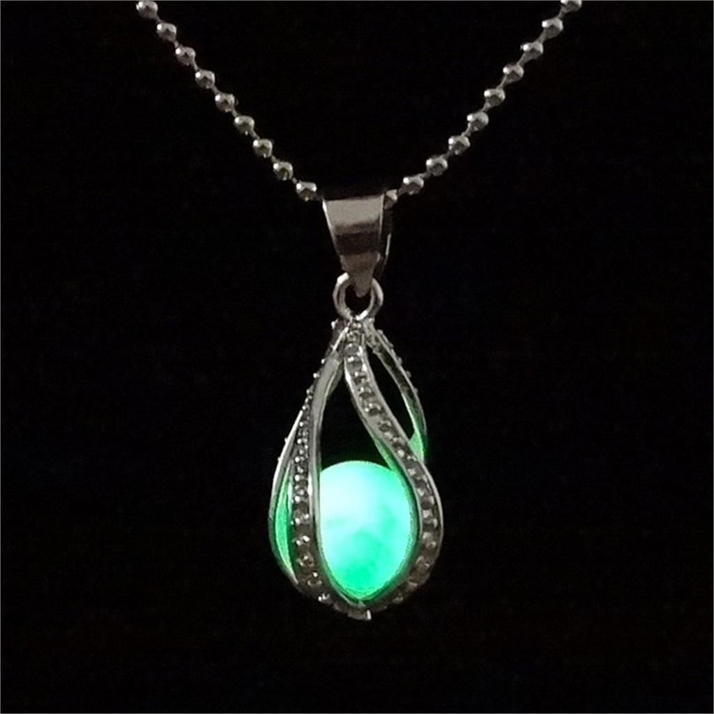 Glow In the Dark Luminous Stone Locket Pendant Necklace