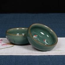 2 stücke Porzellan Tassen Ge Ofen Rissbildung Farbe Fische Tasse Kung Fu Tee-Set