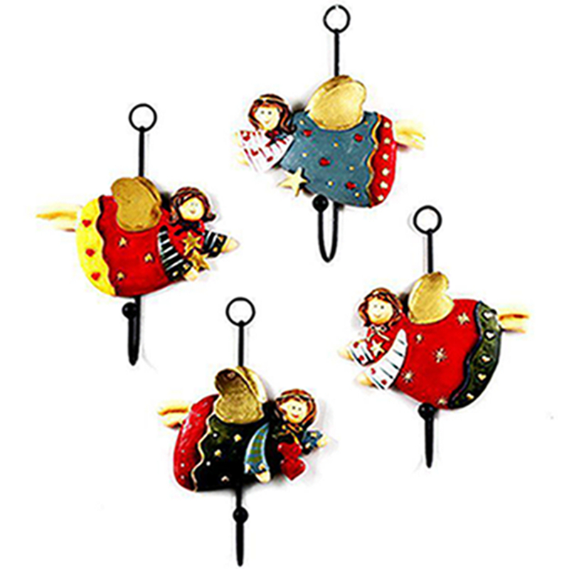 4 Pcs Lot Farmhouse Style Cute Angel Iron Resin Home Coat
