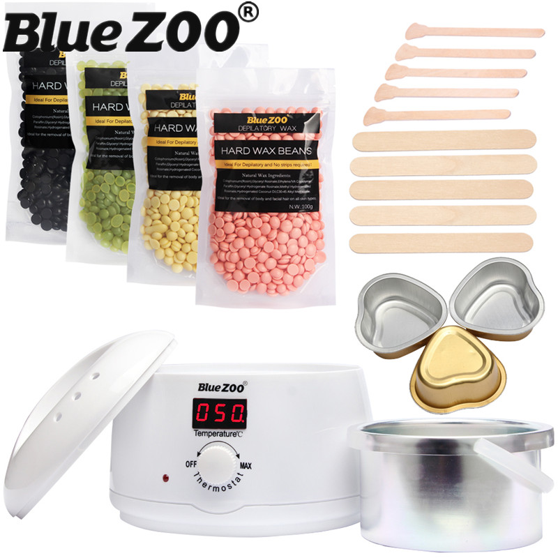 BlueZOO 500cc Depilatory Wax Warmer Heater + 4 Bags Hot Hard Wax Beans Pellet Depilatory Body Hair Removal Wax Machine Set настольная игра gaga games джентльменская сделка