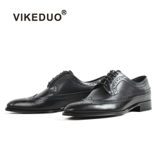 VIKEDUO Fashion Blake Men Shoes Handmade Brogue Calf Leather Footwear Plus Size Wedding Office Derby Shoe Black Zapato de Hombre