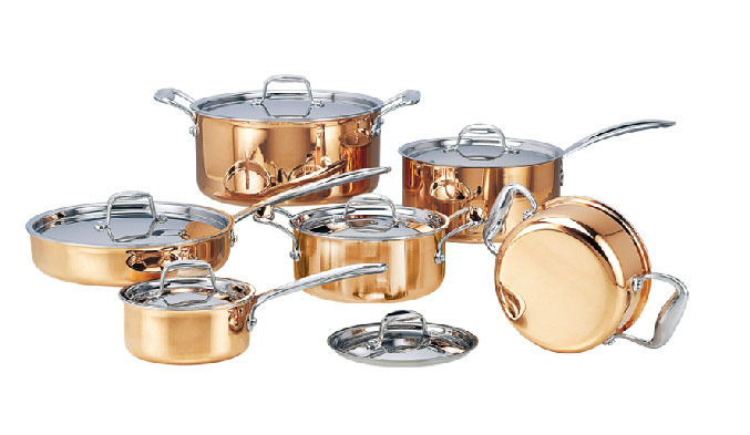 cooking tools dhl free shipping stainless steel copper cooking pots with frying pan stainless pot hot - Copper Cookware Set