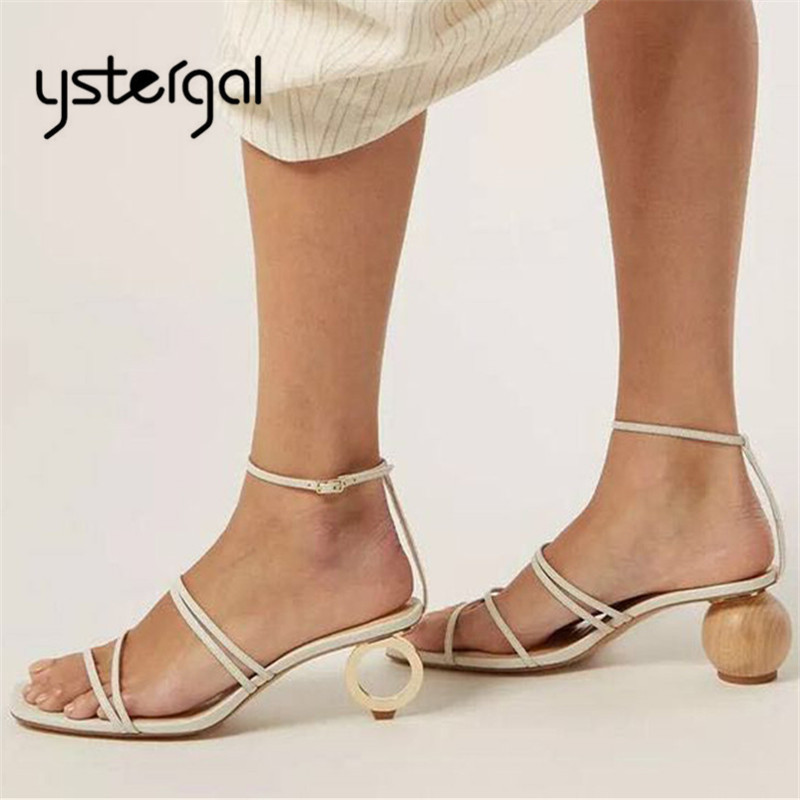 Ystergal جديد تصميم المرأة الصيف صنادل طراز جلاديتور حقيقية أشرطة جلدية النساء مضخات الكعب العالي غريبة الحب أحذية-في كعب عالي من أحذية على  مجموعة 1