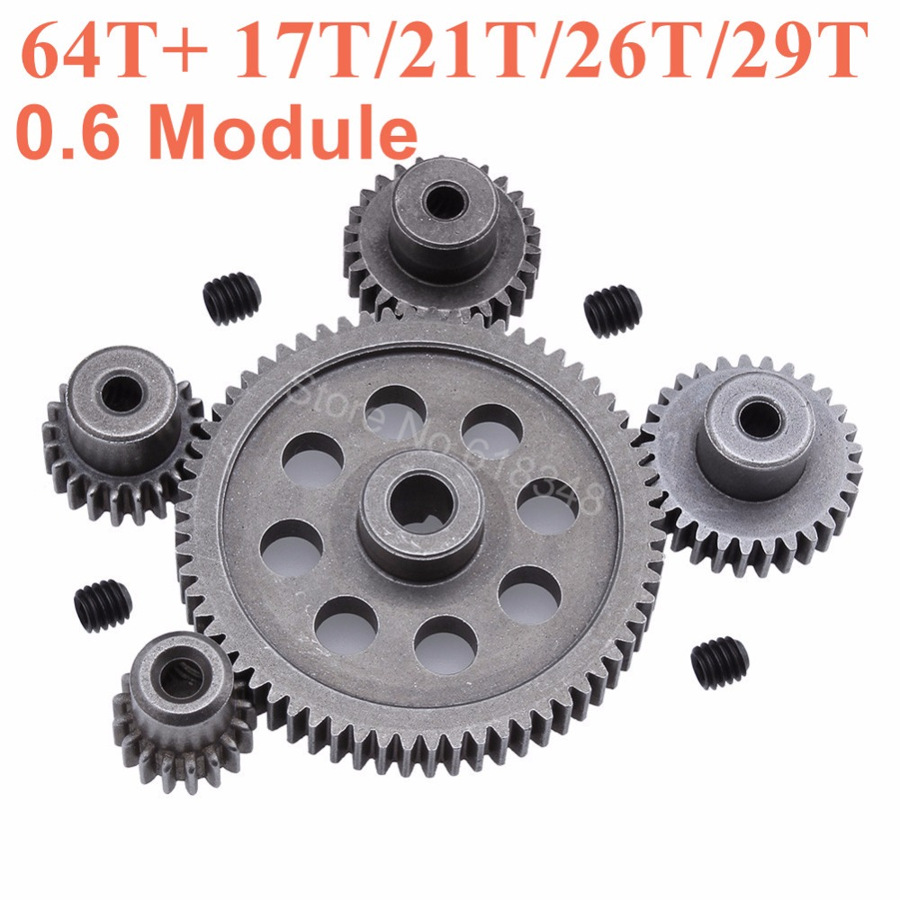 11184 Steel Metal Spur Diff Main Gear 64T Motor Pinion Gears 17T 21T 26T 29T 11176 11181 11119 11189 For HSP Redcat Exceed RC universal metal walkera motor pinion gear puller remover w010 for rc helicopter new