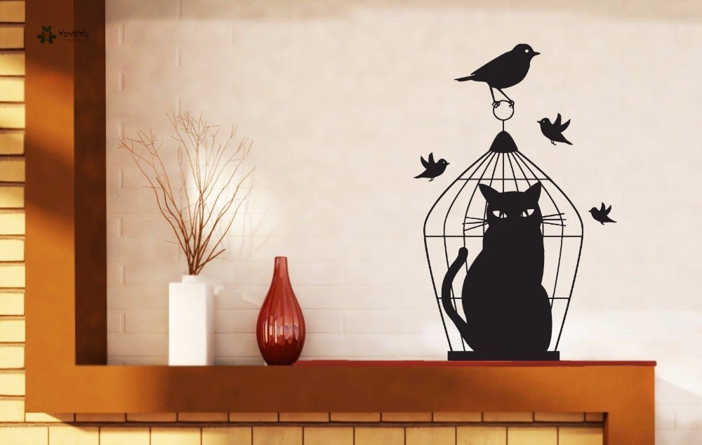 YOYOYU Vinyl Wall Decal Poor Cat In The Cage Birdie Bedroom Animal Art Removable Home Stickers for kids room FD354 in Wall Stickers from Home Garden