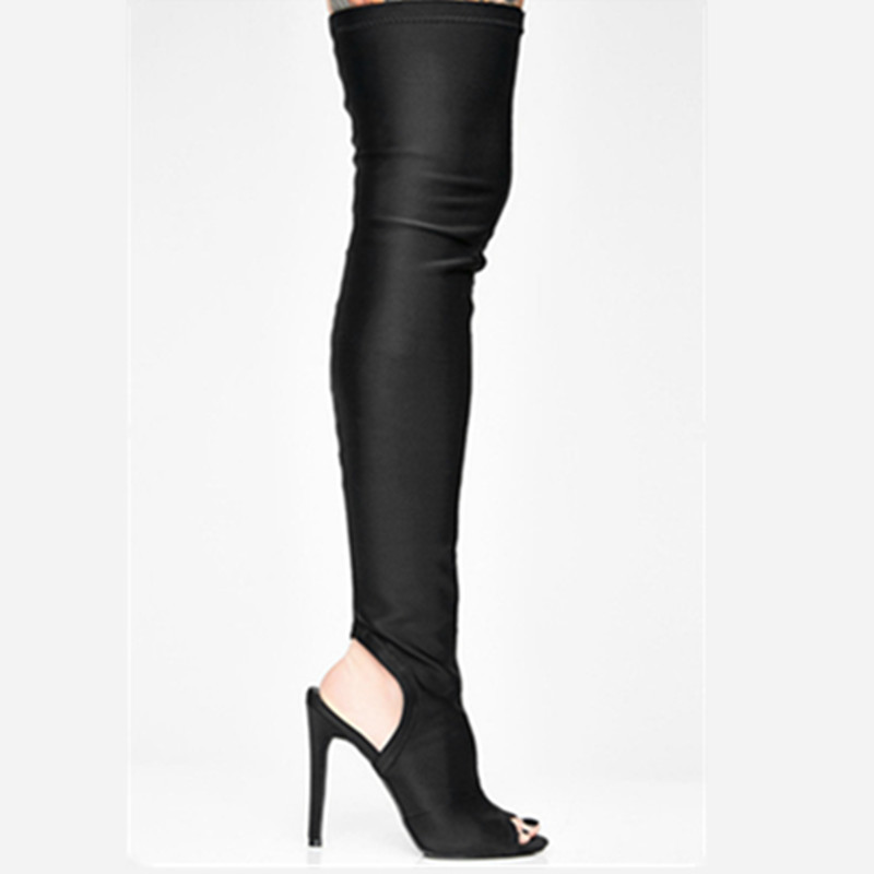 New Fashion Over The Knee Woman Shoes Sexy Open Toe Stretch Fabric Thigh High Boots Thin Heel Boots Black Back Space Long Boots