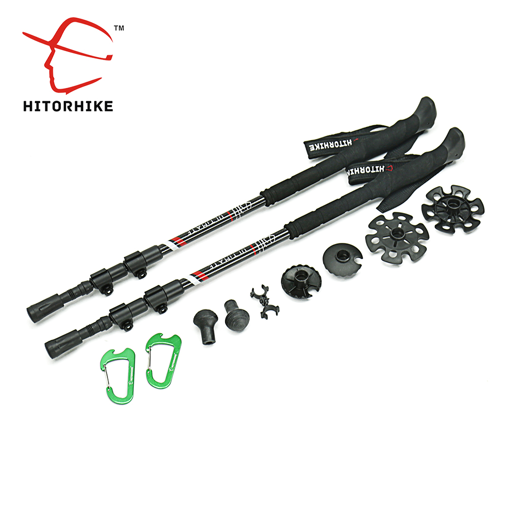 210g/pc carbon fiber external quick lock Trekking pole hiking telescope <font><b>stick</b></font> nordic walking <font><b>stick</b></font> Shooting Crutch Senderismo