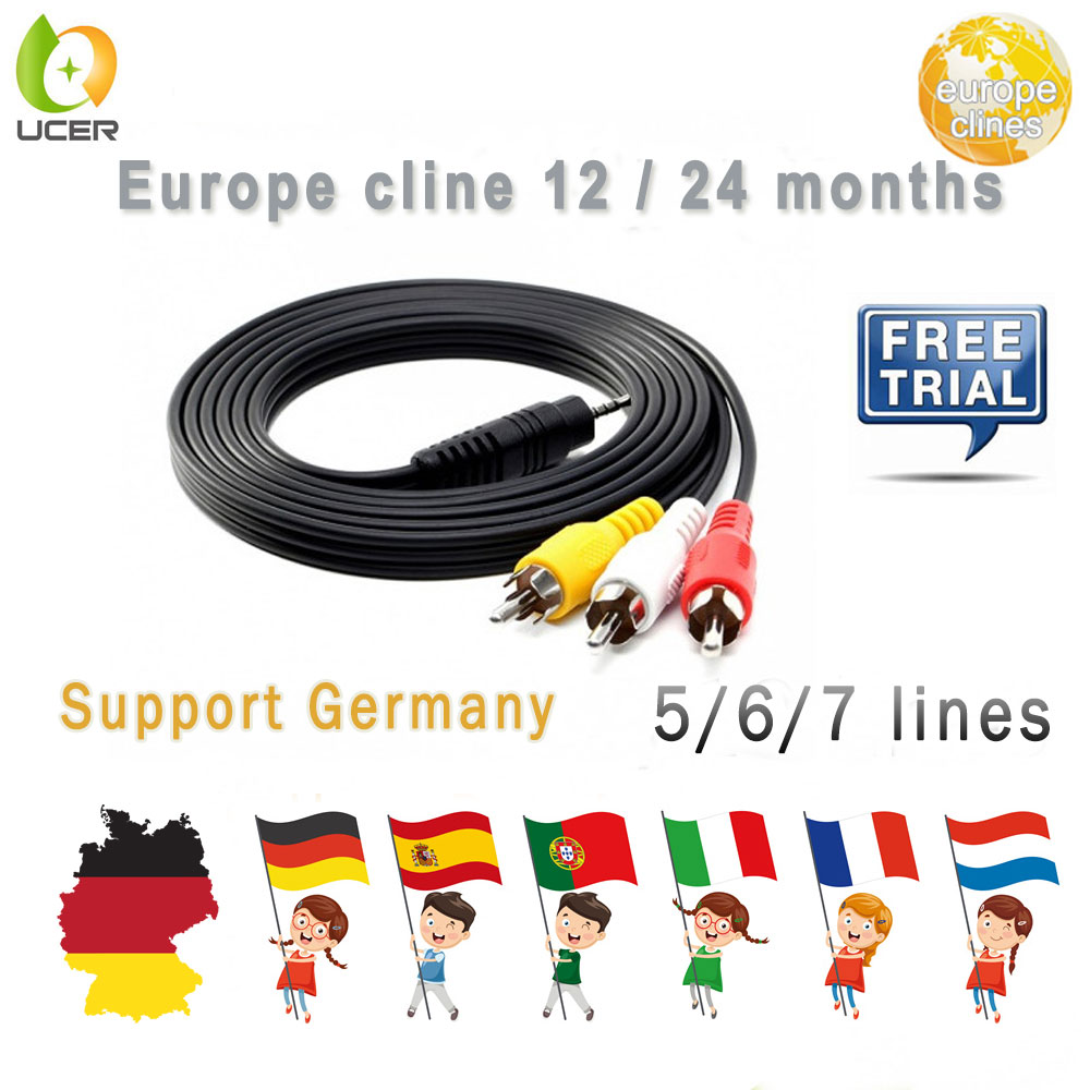 European DE IT ES Channels DVB-S/S2 Satellite Europe Lines 1 Year 7 Lines Validity Clines Newcamd USB WIFI Satellite TV Receiver