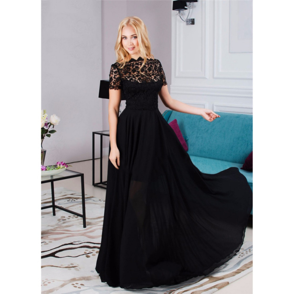 2018 Fashion Summer Dress Women Maxi Chiffon Lace Dress Women s Long Dress  Casual Elegant Short Sleeve 531cb340639f