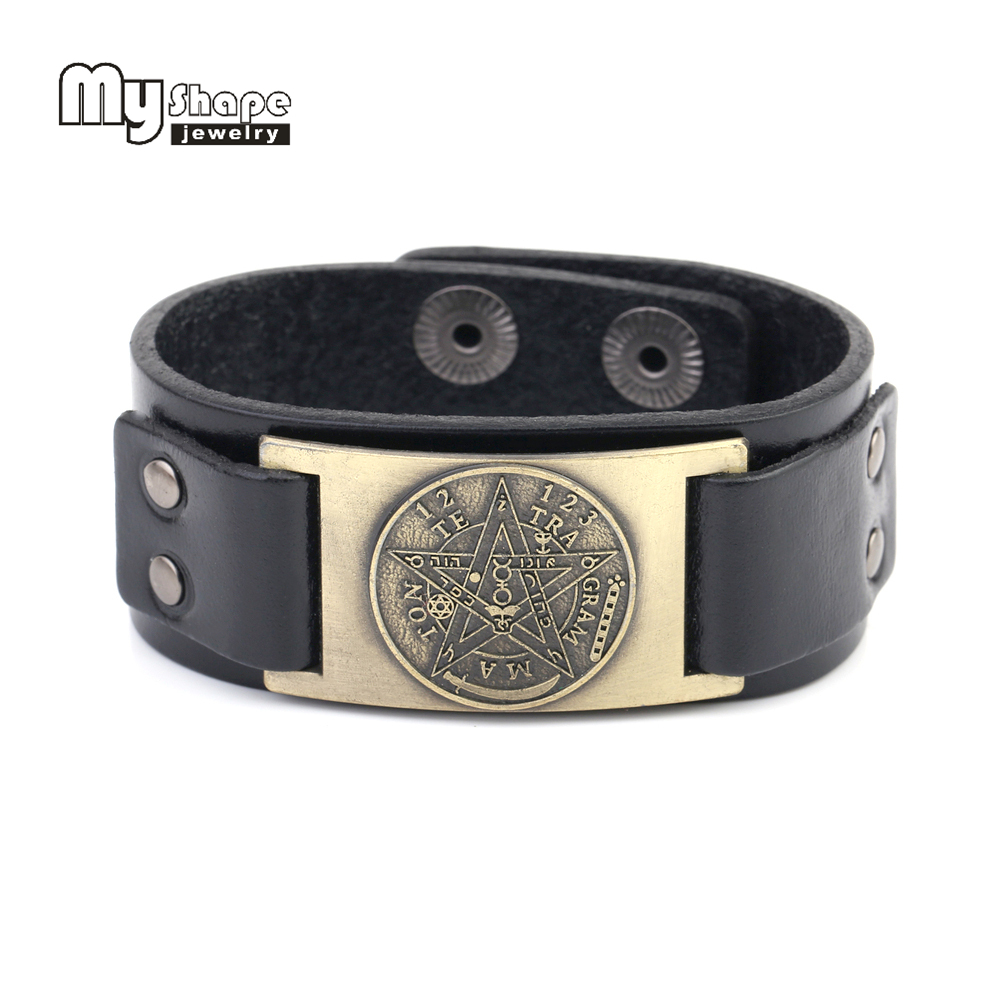 my shape Tetragrammaton Pentacle Pentagram leather bracelet bangles for men Gift Amulet Wiccan Talisman Pendants Jewelry charming glaze tube shape bracelet for men