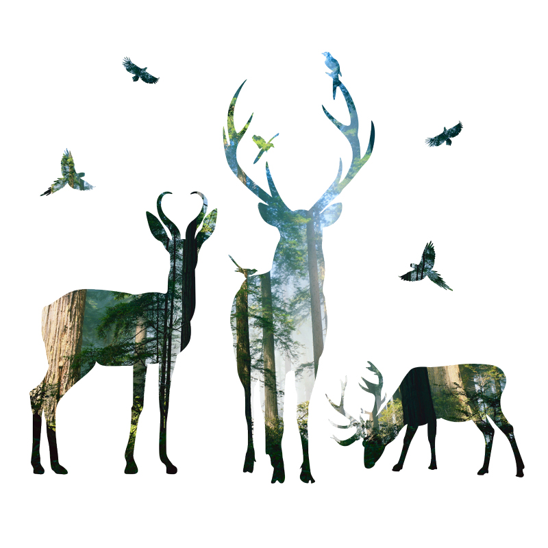 3d View Nature Forest Deer Wall Stickers Home Decor Living Room-Free Shipping 3D Wall Stickers Living Room nature wall decals