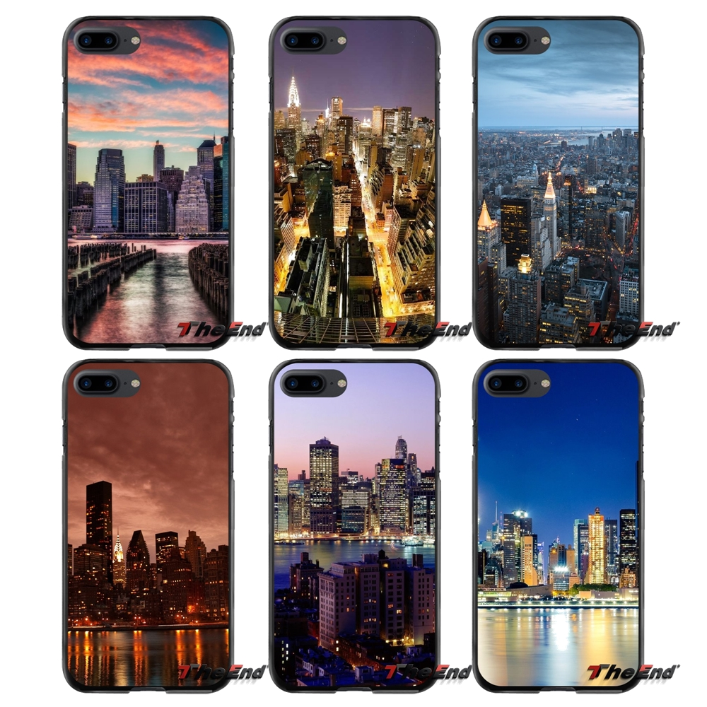 For Apple iPhone 4 4S 5 5S 5C SE 6 6S 7 8 Plus X iPod Touch 4 5 6 Manhattan City Printed Accessories Phone Shell Covers
