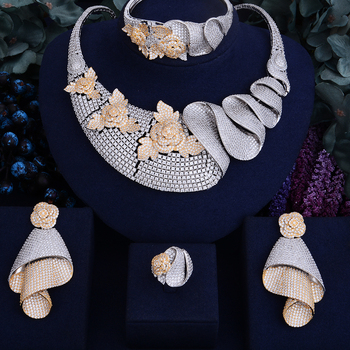 Luxury Shinning Flower Leaf  Bridal Cubic  Jewelry Set 4