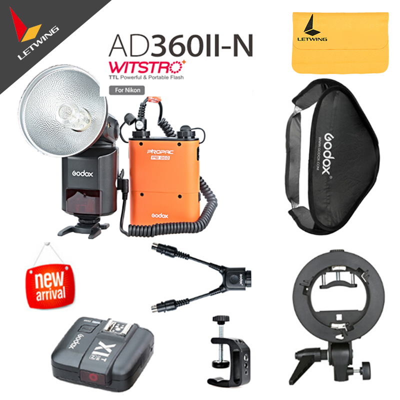 Godox Witstro AD-360 AD360II-N TTL Flash Speedlite On/Off-Camera &Godox X1 Wireless Trigger for Nikon DSLR With Accessories meike mk 950ii n gn58 ttl wireless trigger remote flash speedlite for nikon dslr black